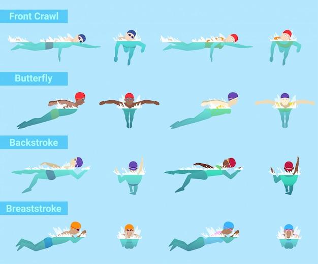 Nuoto nuotatore sportivo nuota in costume da bagno e cuffia in piscina diversi stili anteriore crawl farfalla o dorso e rana illustrazione subacquea isolato su sfondo