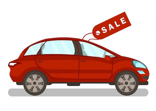 Nuova automobile da vendere l'illustrazione piana di vettore