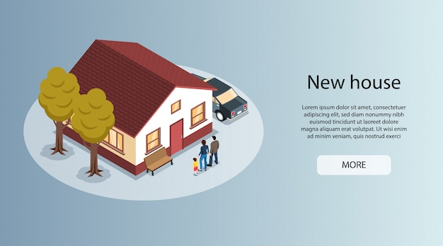 Nuova casa nella bandiera orizzontale isometrica del sito web degli agenti immobiliari della città con la casa della famiglia da vendere