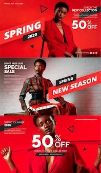 Nuova collezione di modelli di banner di vendita di stagione