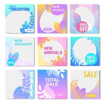 Nuova collezione marchio sconto arrivo offerta speciale banner di vendita totale