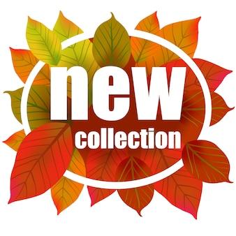 Nuova collezione scritta in cerchio. iscrizione creativa su foglie colorate d'autunnali.
