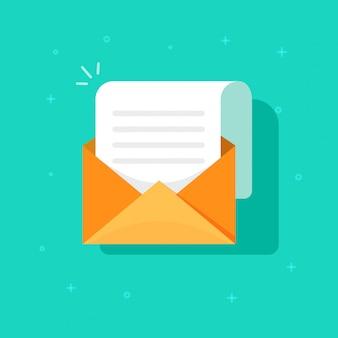 Nuova icona del messaggio di posta elettronica, busta in cartone piatto con posta aperta
