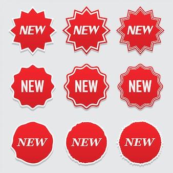 Nuova icona di etichetta, etichetta e adesivo. grande set