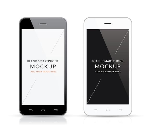 Nuova illustrazione vettoriale moderna in bianco e nero di smartphone mockup