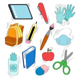 Nuova normale raccolta di materiale scolastico