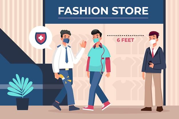 Nuova normalità all'ingresso dei negozi