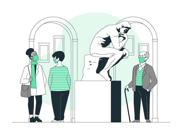 Nuova normalità nell'illustrazione di concetto di musei
