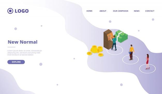Nuova normalità per il modello di pagina di destinazione della home page del sito web della campagna web della campagna con stile cartoon piatto moderno