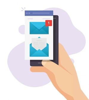 Nuova notifica di avviso di messaggio di posta elettronica sul design piatto della mano della persona del telefono cellulare