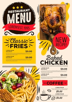 Nuova ricetta del menu del ristorante digitale