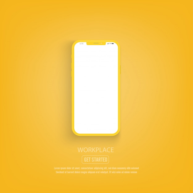 Nuova versione di smartphone giallo con schermo bianco vuoto.