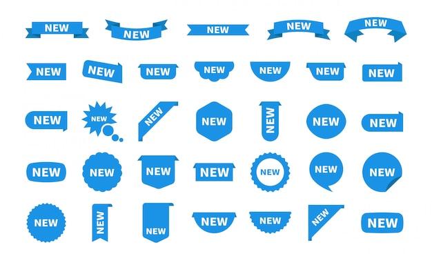 Nuove etichette stabilite dell'autoadesivo isolate. icona blu adesivo piatto con testo. adesivi prodotto con offerta.