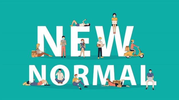 Nuove idee normali concetto persone insieme in grandi lettere piane creative