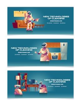 Nuove tecnologie per la pulizia dei cartoni animati banner o modelli di pagina di destinazione con futuristici servitori robotici
