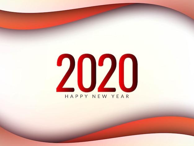 Nuovo anno 2020 elegante sfondo ondulato