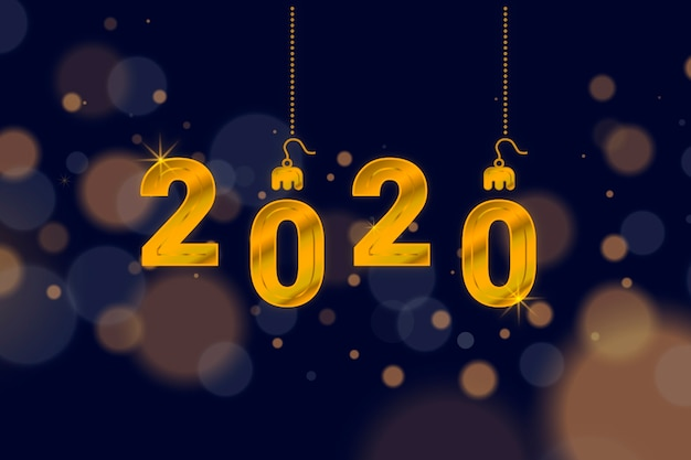 Nuovo anno 2020 in stile sfocato