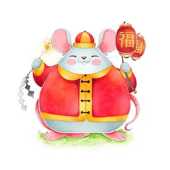 Nuovo anno cinese dell'acquerello sveglio