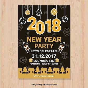 Nuovo anno del manifesto nero con decorazioni in giallo