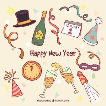 Nuovo anno elementi di partito disegnati a mano