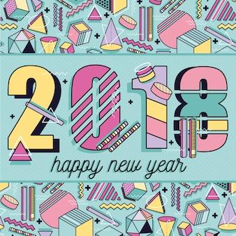 Nuovo anno felice 2018. modello di stile di memphis. struttura astratta con forme geometriche colorate forme. vector sfondo. cartolina d'auguri, brochure, volantini, layout di presentazione degli anni '90.