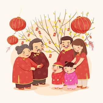 Nuovo anno lunare di una famiglia tradizionale