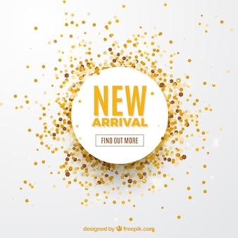 Nuovo concetto di arrivo sfondo con coriandoli dorati