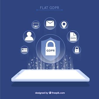 Nuovo concetto di gdpr con design piatto