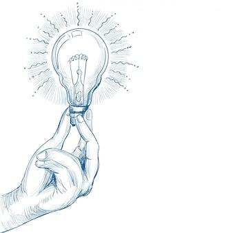Nuovo concetto di idea disegnato a mano con schizzo della lampadina della holding della mano