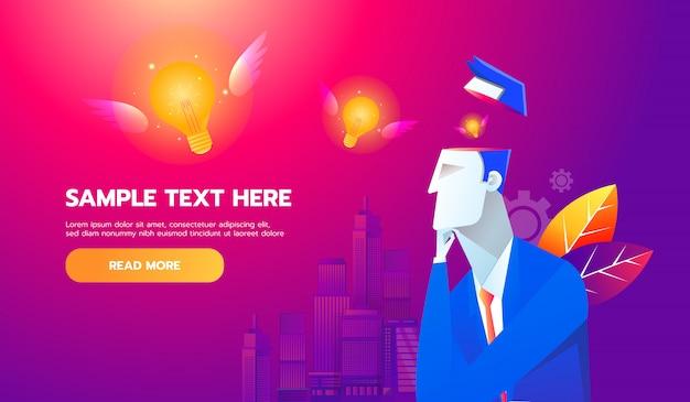 Nuovo concetto di idea. lampadina volante dal cervello dell'uomo d'affari