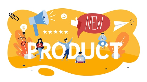 Nuovo concetto di promozione e pubblicità del prodotto. annuncio pubblico. valuta il prodotto. illustrazione