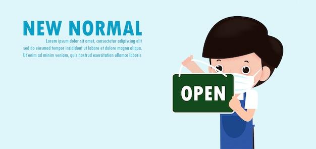 Nuovo concetto di stile di vita normale, il negozio è aperto, l'uomo appende aperto o il negozio di cartelli di benvenuto e indossa una maschera protettiva per coronavirus o scoppio covid-19 sull'illustrazione di sfondo.
