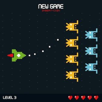 Nuovo gioco inserire moneta con livello di gioco spaziale due anticipo orizzontale
