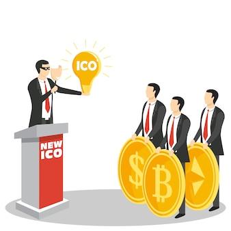 Nuovo ico o concetto iniziale di offerta di monete