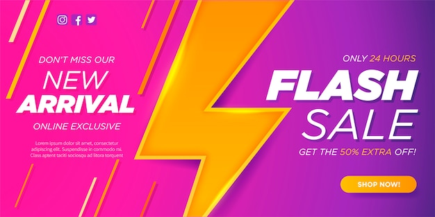 Nuovo modello di bandiera di vendita flash e di arrivo