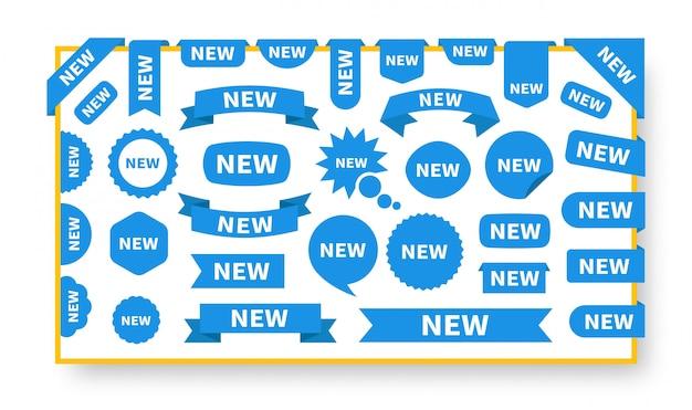 Nuovo modello di etichette set di adesivi. adesivo piatto blu con testo nuovo.