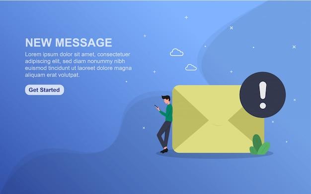 Nuovo modello di pagina di destinazione del messaggio. concetto di design piatto di progettazione di pagine web per sito web.