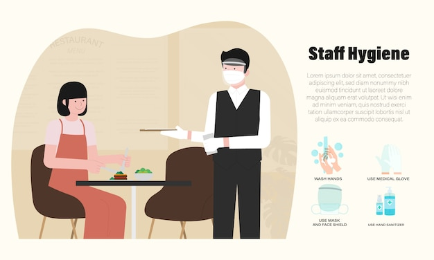 Nuovo normale del ristorante infographic con la maschera d'uso del cameriere, illustrazione medica del boschetto