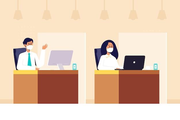 Nuovo normale in ufficio illustrato