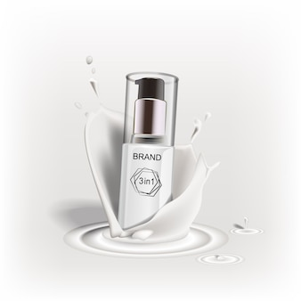 Nuovo prodotto pubblicitario per cosmetici dal design di marca. una spruzzata di panna, latte, liquidi.