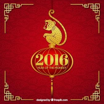 Nuovo sfondo cinese anno con una scimmia d'oro