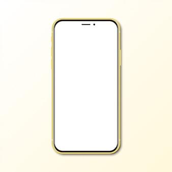 Nuovo smartphone giallo con lo schermo in bianco con ombra
