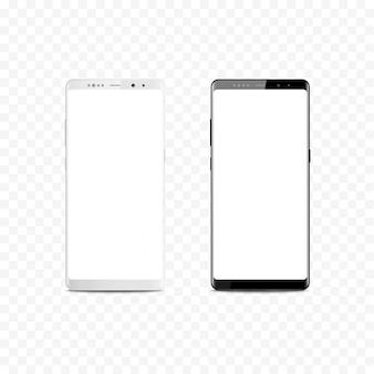 Nuovo smartphone mobile realistico in bianco e nero. telefono cellulare isolato.
