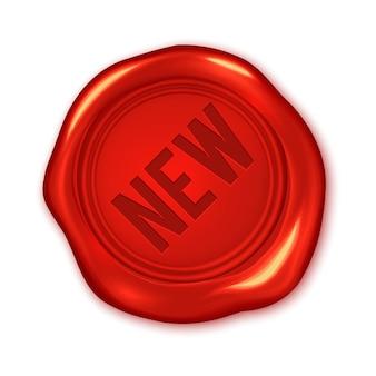 Nuovo testo sulla guarnizione rossa della cera di vettore isolata su bianco