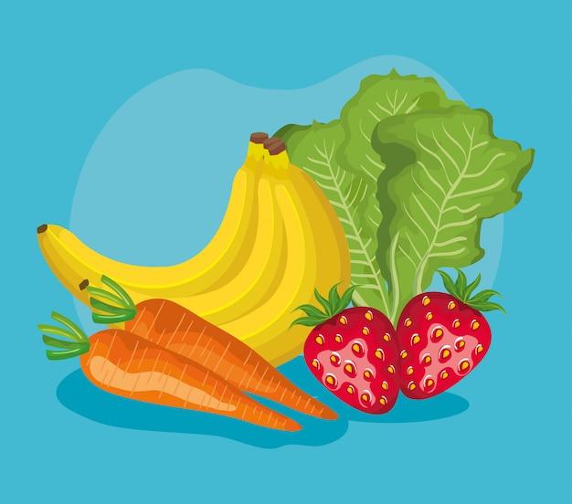 Nutrizione deliziosa di frutta e verdure sane