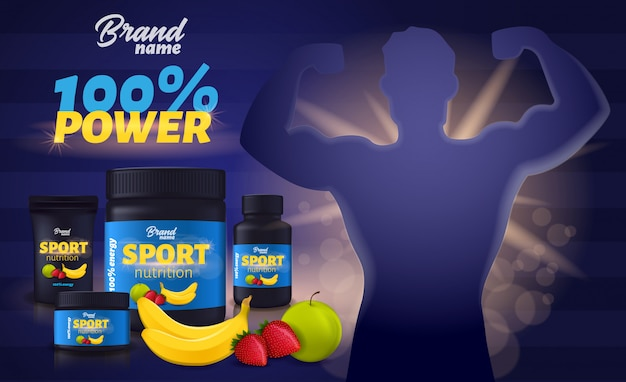 Nutrizione sportiva con gusto di frutta, integratore di proteine del siero di latte contenitore di plastica nera