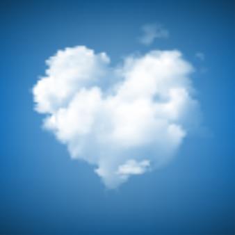 Nuvola a forma di cuore sul cielo blu