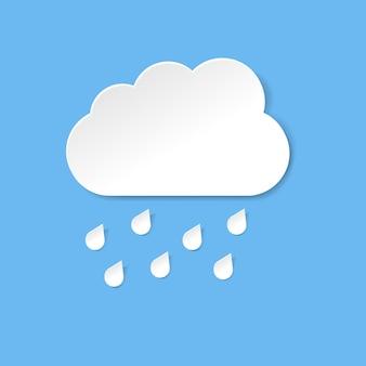 Nuvola blu con pioggia e sfondo blu