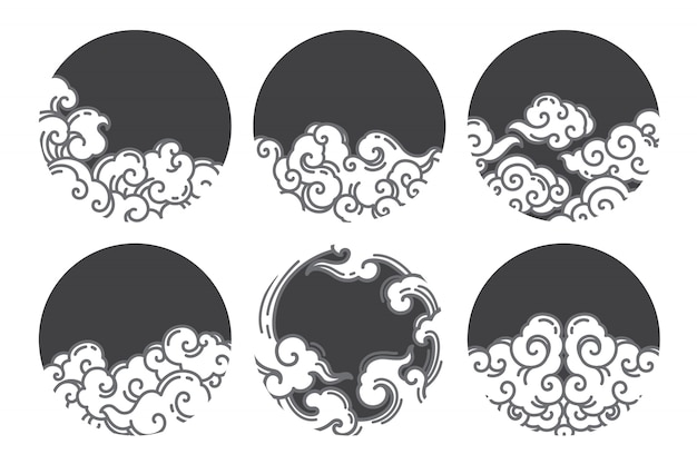 Nuvola cinese linea logo design