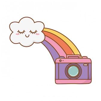 Nuvola con arcobaleno e fotocamera